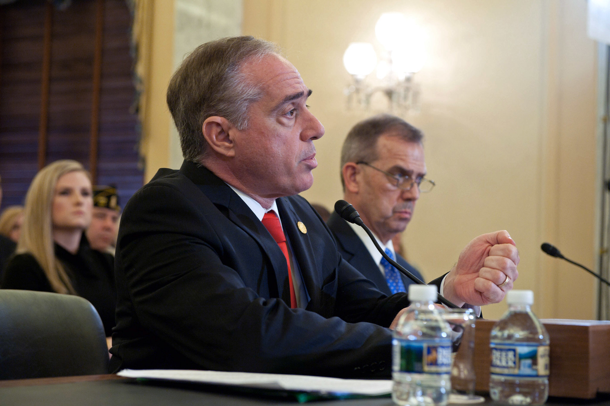 On Wednesday, September 27, 2017, VA Secretary David Shulkin, MD., and Dr. David Carroll, Executive Director, VA's Office of Mental Health and Suicide Prevention testified before the Senate Committee on Veterans' Affairs on the department's suicide prevention programs. Testimony followed the signing of a Suicide Prevention Declaration by Secretary Shulkin and leading members of the Senate Committee on Veterans' Affairs.  [VA photo by Robert Turtil]
