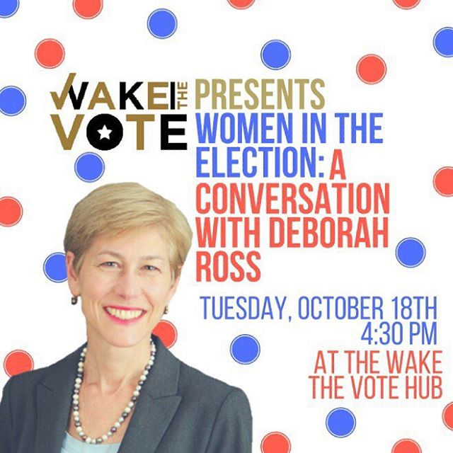 """""""Women in the Election"""": A Conversation with Deborah Ross  Join us for a panel discussion about issues related to domestic violence, sexual assault, and economic justice in North Carolina. Deborah Ross is a former state representative and current candidate for U.S. Senate. Ross' race has been called one of the closest U.S. Senate races in the country. Moderated by Melissa Harris Perry.  This panel will take place on Tuesday, October, 18th at 4:30 at the Wake the Vote Hub (2599 Reynolda Road). Shuttles will leave Benson University Center beginning at 4:00 p.m. #wakethevote👍🏾"""