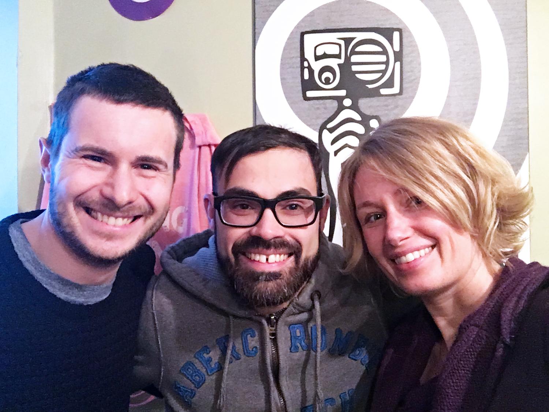 Louis-Bernard St-Jean ,  Jono Doiron  and Denise Buisman Pilger at  CKUT 90.3FM