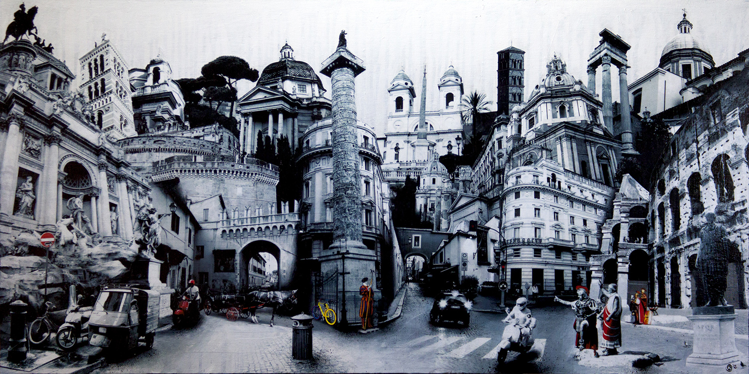 """""""Rome 1"""", 2012, by Denise Buisman Pilger. Mixed media on wood, 24"""" x 48"""". Copyright © 2012 Denise Buisman Pilger. Used by permission of the artist."""