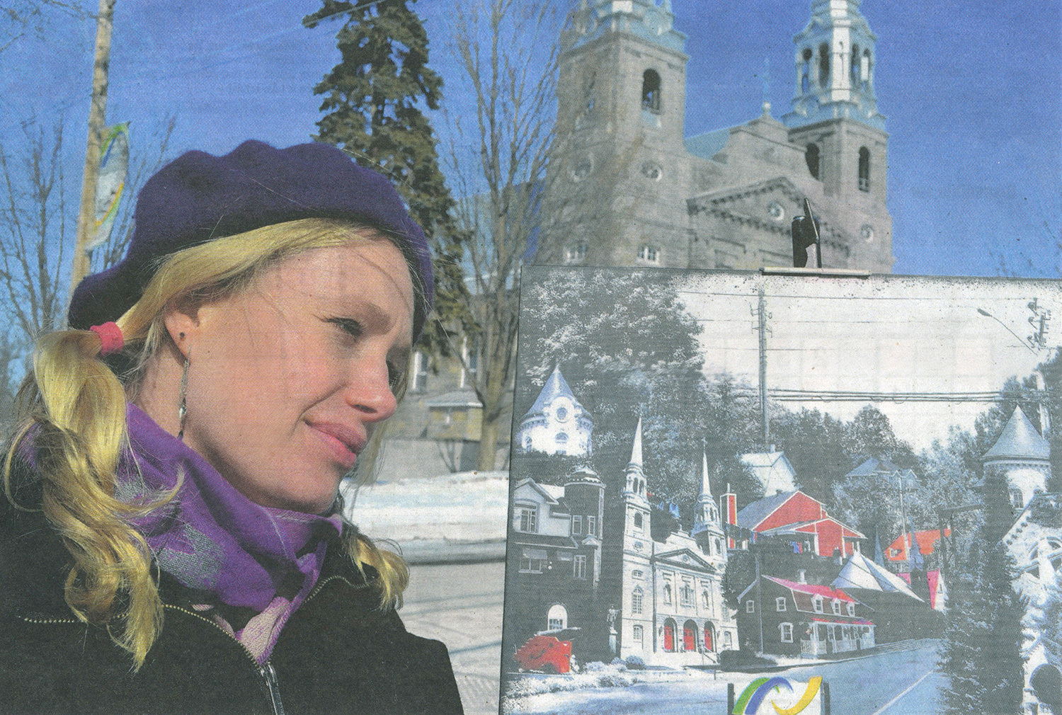 Dutch-born artist Denise Buisman Pilger reached one of her dreams two years ago as one of her artwork was displayed in the Louvre in Paris. She recently completed another project in which she made composite pictures of every municipality on the island of Montreal using photography and painting. She is pictured above in front of Ste. Geneviève Church on Gouin Blvd. Photo François Lemieux