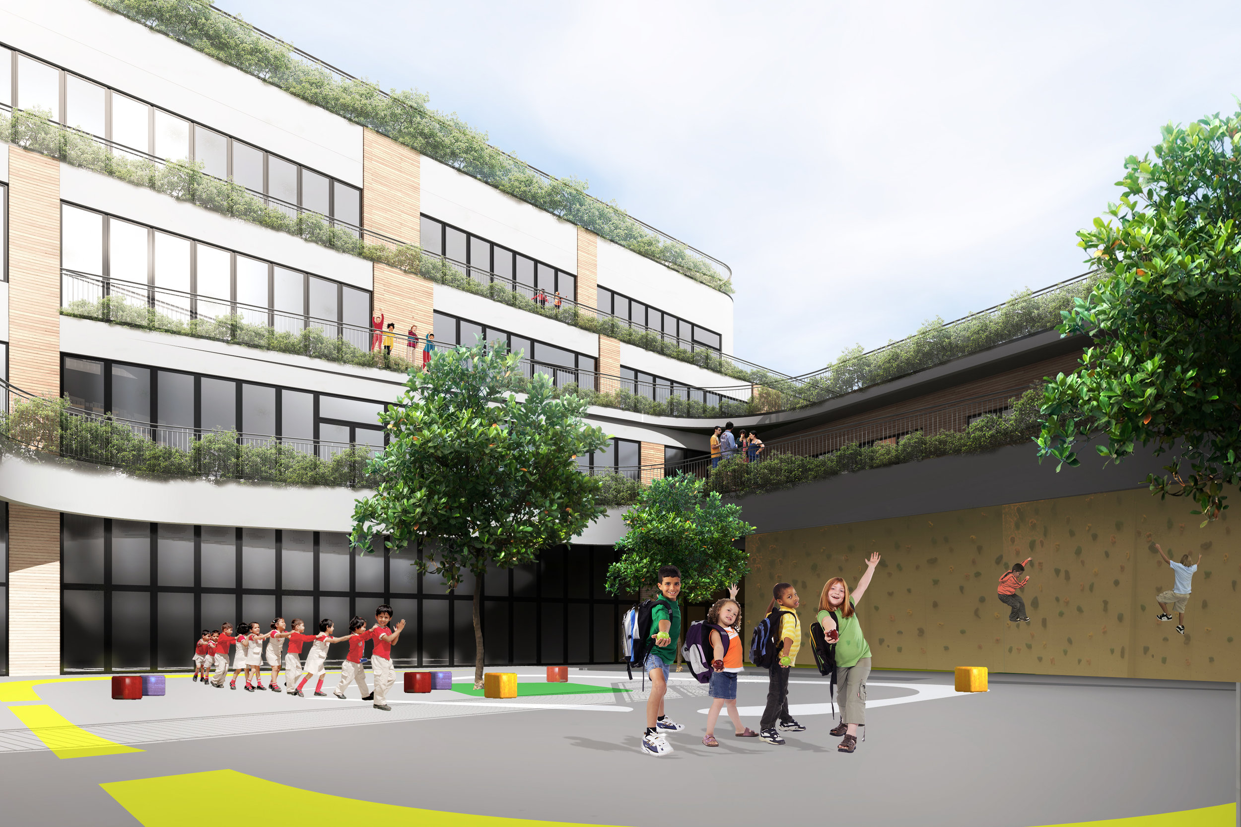 Primary school - Year: 2015Location: Dublin, IrelandClient: Ireland's department of educationMain features: • Energy efficiency, Natural materials, Green roof. • Universal design- inclusion of persons with special needs