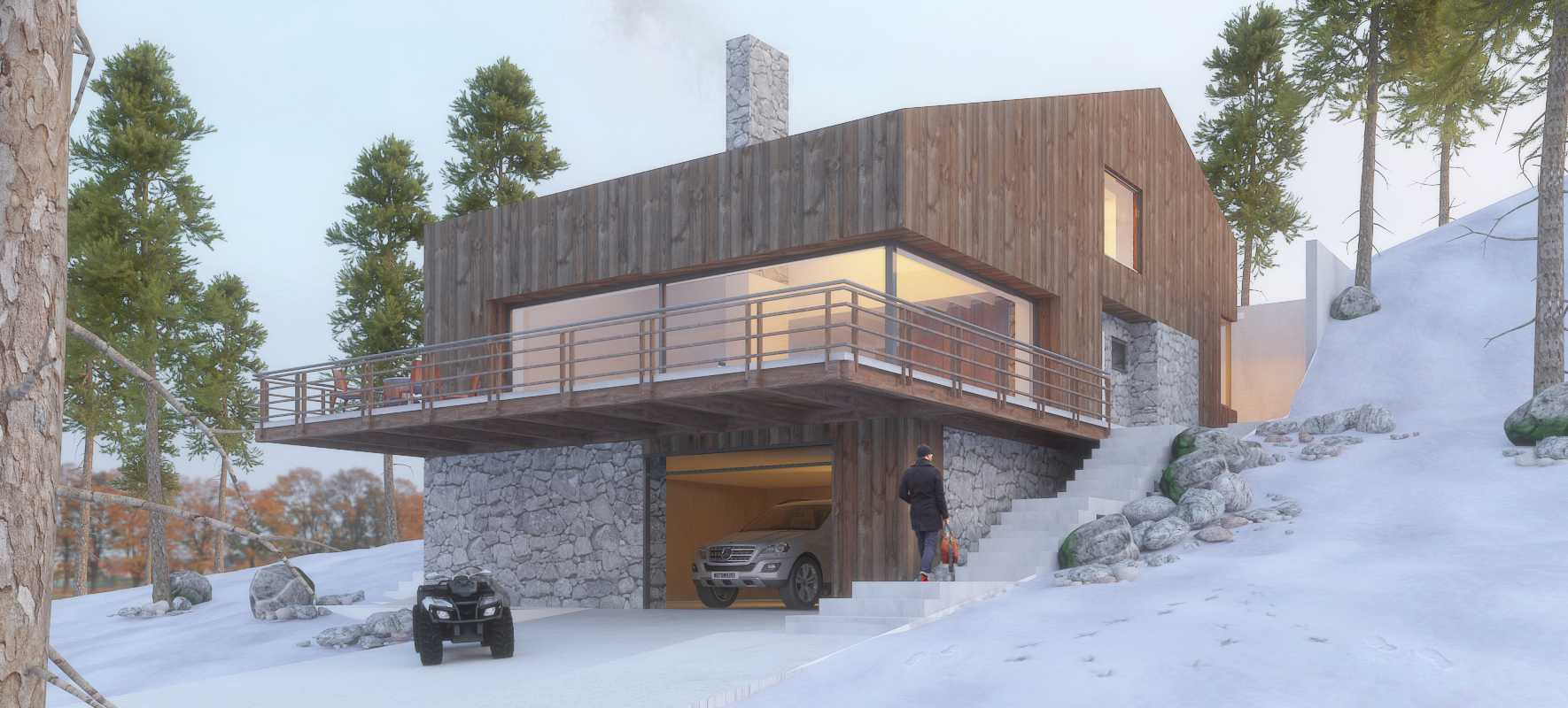 vila in brezovica - Year: 2018Location: Brezovica, KosovoClient: Private investor  Main features: • Natural materials• Design as an inclusive processstarting from theuser perspective.