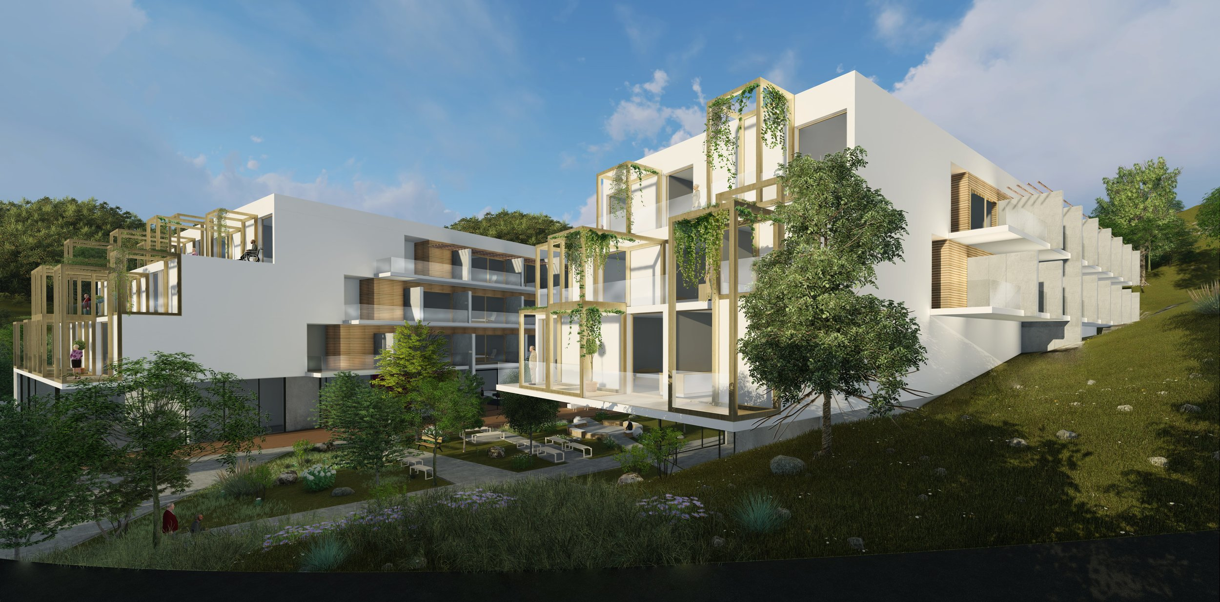 HOUSE FOR THE ELDERLY - Year: 2018Location: PrishtinaClient: Private investorMain features:• Attractive features of the site used during the design concept• Atropomorphic data• Ergonometric data• Wheel chairs• Public spaces• Solar gain• Thermal efficiency, resource recovery and recycling