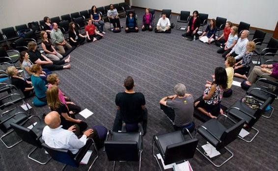 Meditatie training bij General Mills in Minneapolis.