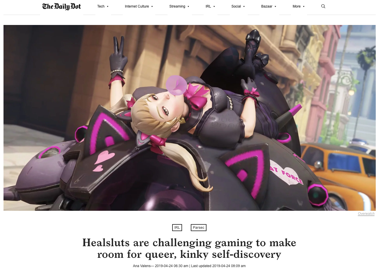 Recent Press: - Check out this great cover story for The Daily Dot by Ana Valens in which I was quoted discussing fandom, kinks and sexuality.