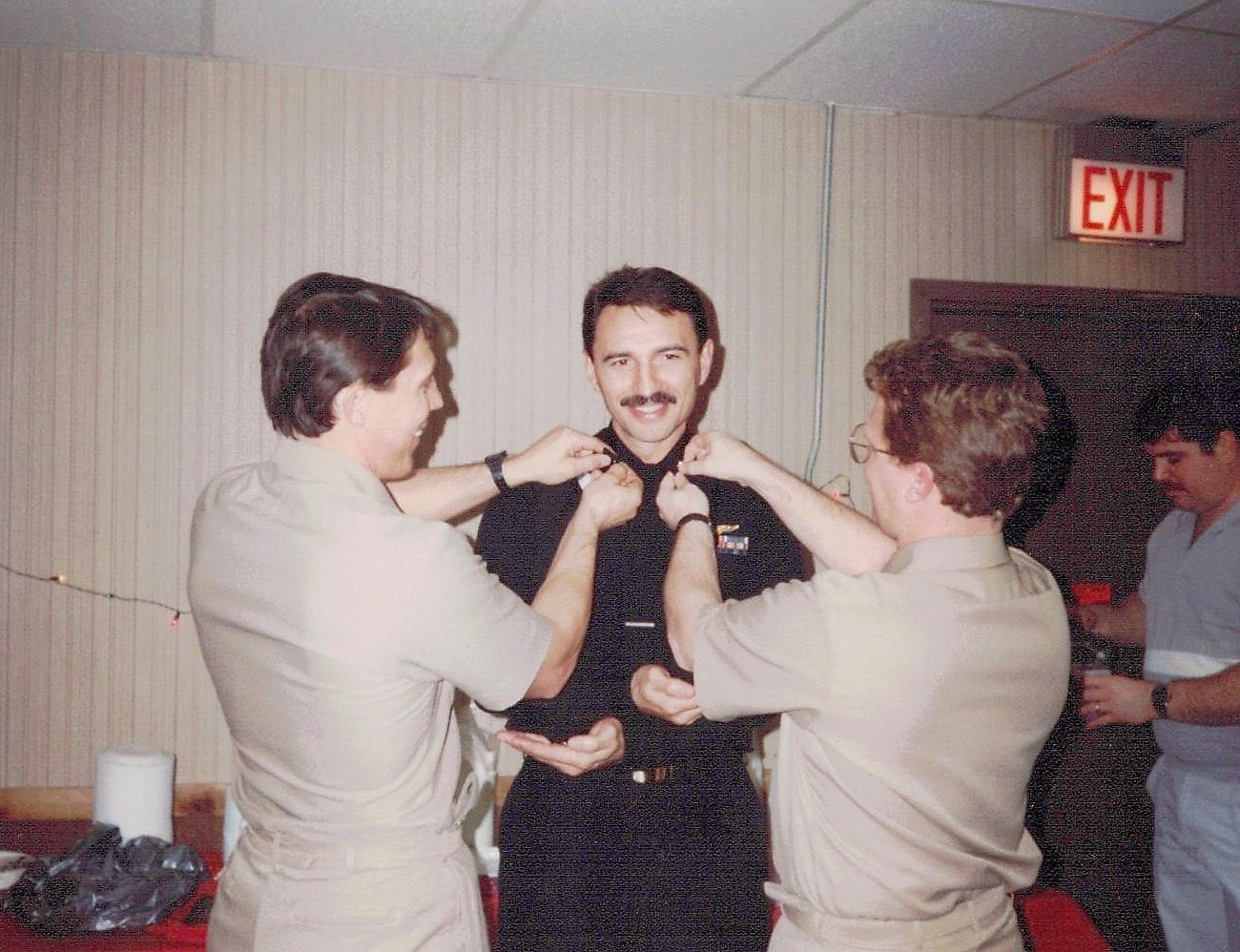 Pinning on the silver oak leaves- Dec 1993