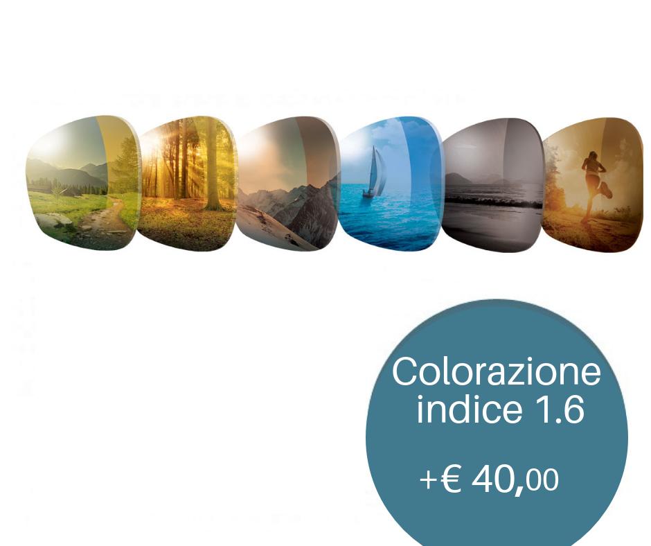 Colorazione per lenti da sole   Proteggi i tuoi occhi dalla luce del sole con le nuove colorazioni ColorSun! 21 varianti colore per una lente protettiva e fashion. Indicata per lenti 1.6 o superiori.  Trattamento antiriflesso incluso.