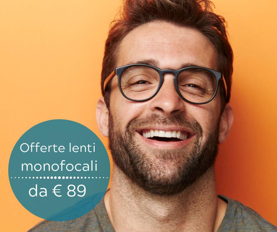 """Scopri le nostre migliori offerte per le lenti monofocali a partire da € 89 ! 100 % soddisfatti!     Garanzia 24 mesi inclusa    Assicurazione """"senza pensieri"""" per 12 mesi gratuita per un anno."""