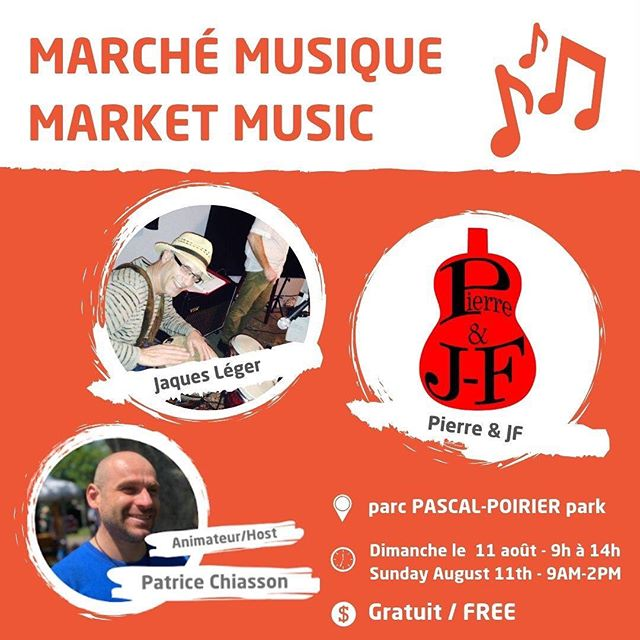 Venez passer votre dimanche avec nous au Marché de Shediac. Cette semaine nous aurons la musique de Jacques Léger ainsi que de Pierre et JF pour vous divertir!  On se voit demain!  Come spend your Sunday with us at the Shediac Market. This week we will have the music of Jacques Léger and Pierre and JF to entertain you!  See you tomorow!