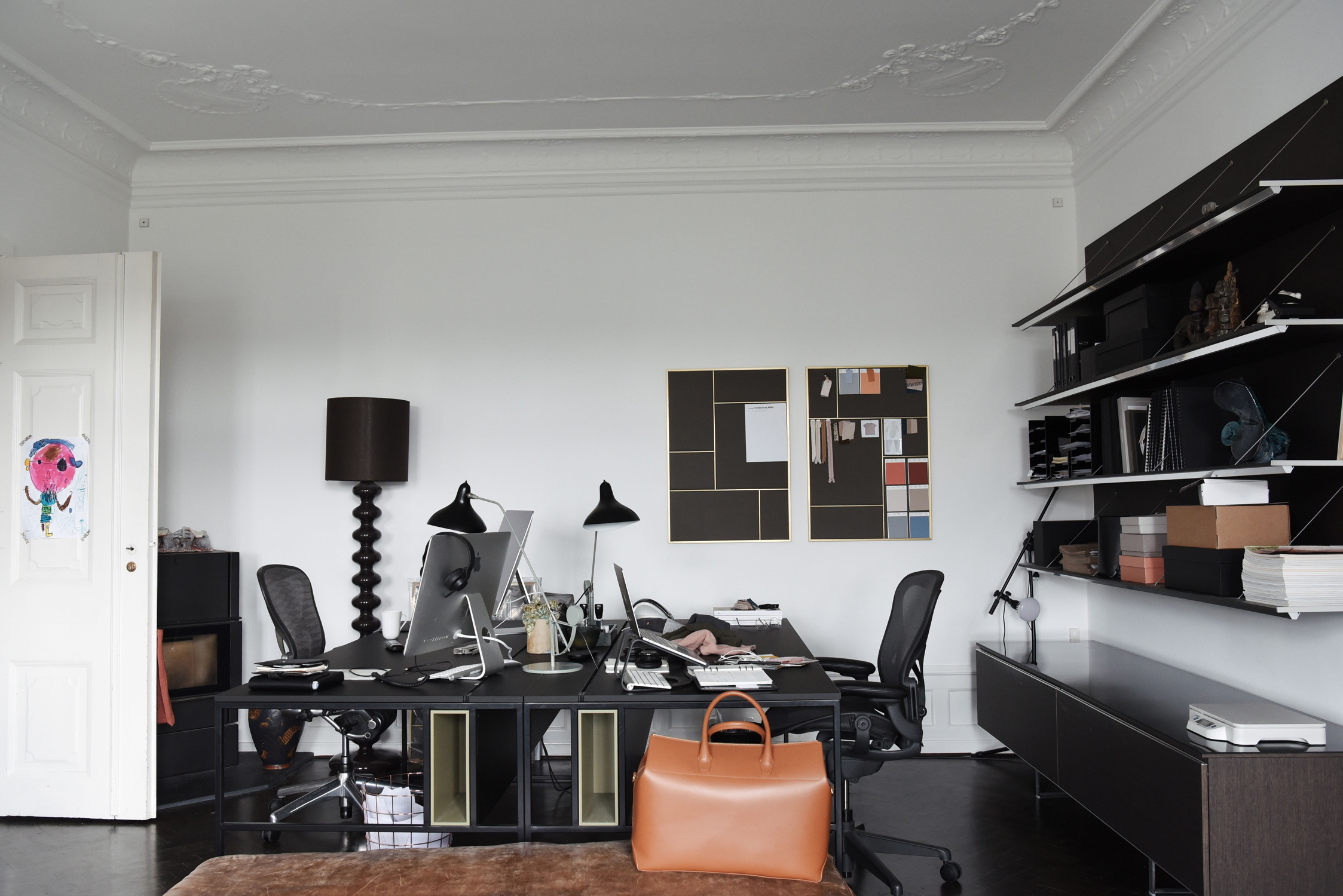 The home office in My and Christian's Frederiksberg apartment.