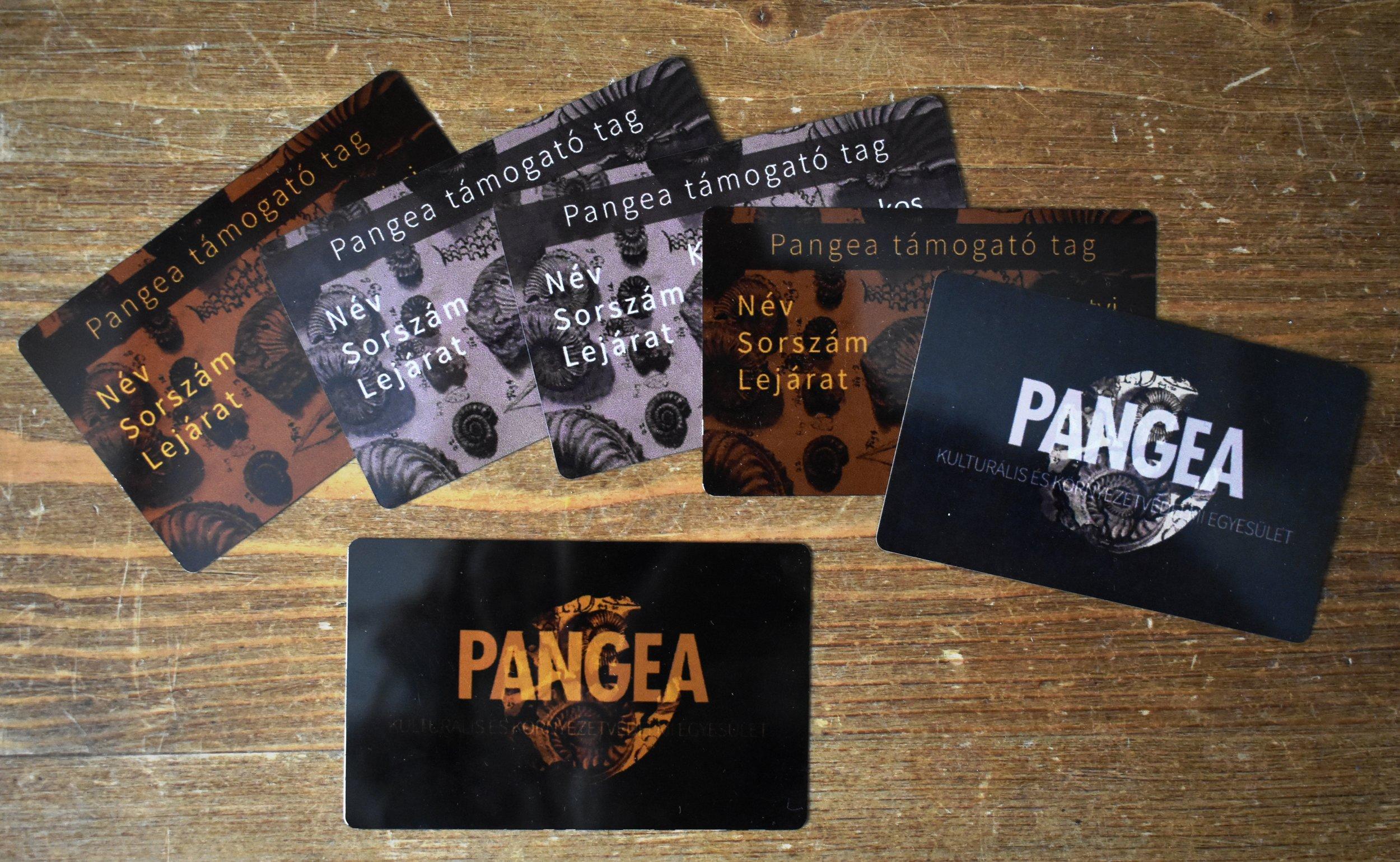 Lelkes önkénteseink munkájának elismeréseként Pangea Tagsági Kártya is a jutalmuk!És hogy mire jó?Az egyesülethez való tartozás szimbóluma ez a kis kártya – amely azon túl, hogy jól mutat az irattárcában – még sok hasznos dologgal is szolgálja tulajdonosát:Kedvezményre jogosít a következő helyeken (ez egy folyamatosan bővülő lista):   - Mauna - 10% (http://mauna.hu/)Zöldbolt - 5% (https://www.zoldbolt.hu/)Pozsonyi Zsombor - 10% (kályhaépítés)Pistiméz - 10% (https://www.facebook.com/pistimez/)Ökörszem manufaktúra - 10% (https://www.facebook.com/okorszem/)Balatoni Madárkert (díszmadár és kisállatpark)   - 50% (http://www.madarkert.hu/)