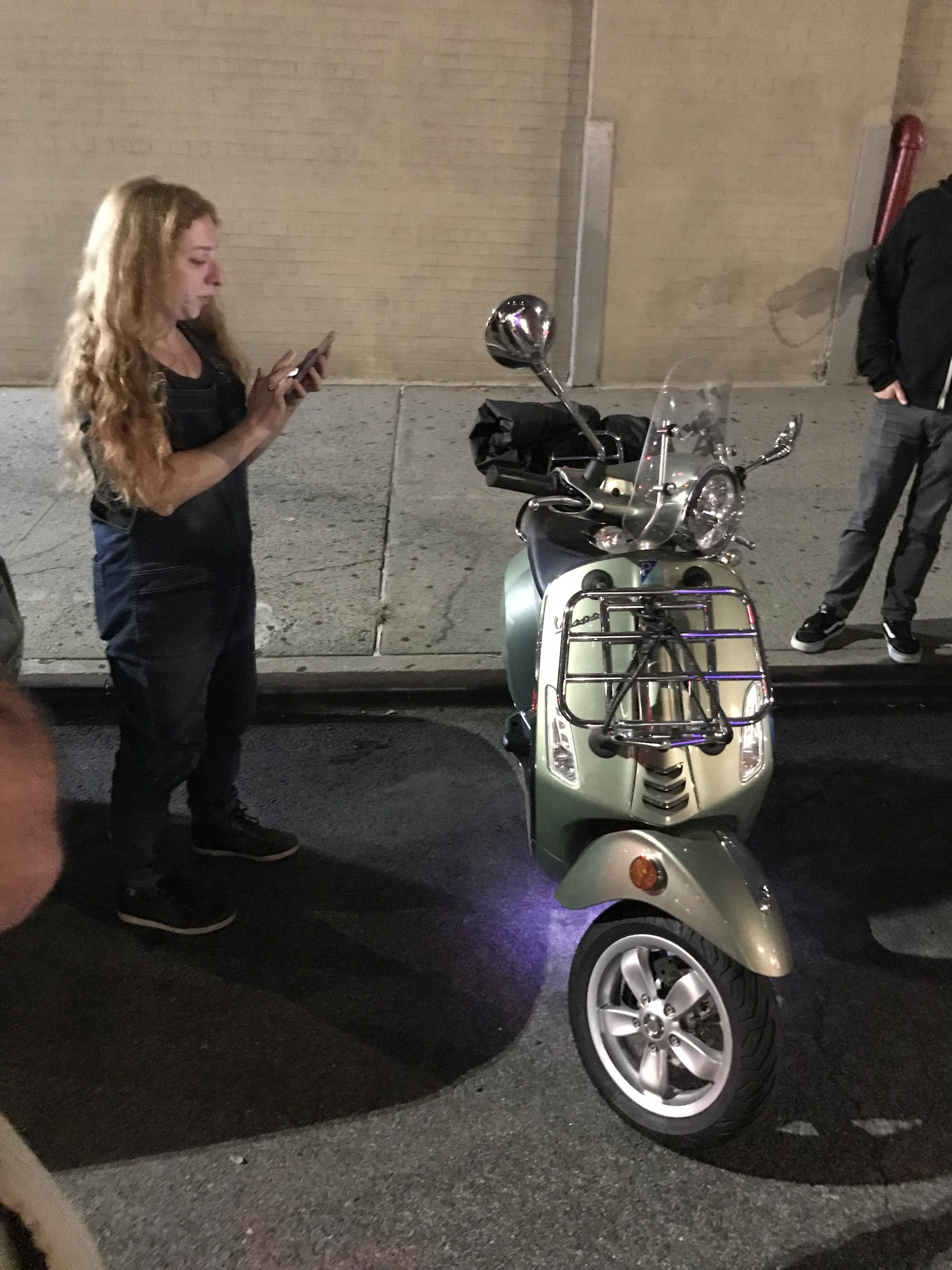 Becky shows her Vespa unlit project