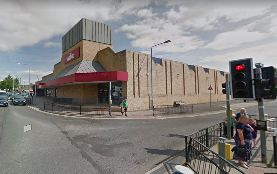 Wilkos in Arnold, where there used to be a playhouse and the Carnegie library more or less.