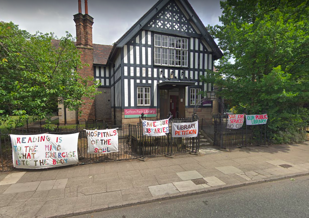 A branch library fighting to stay open in Sefton Park, Liverpool