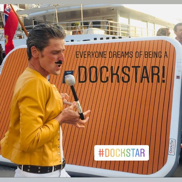 We Will Rock You!! 👏🏻👏🏻 #dockstar #myba #bwa #superyacht #yachting #crewparty #yachttoys #yachtinflatables #queen #party #dockparty