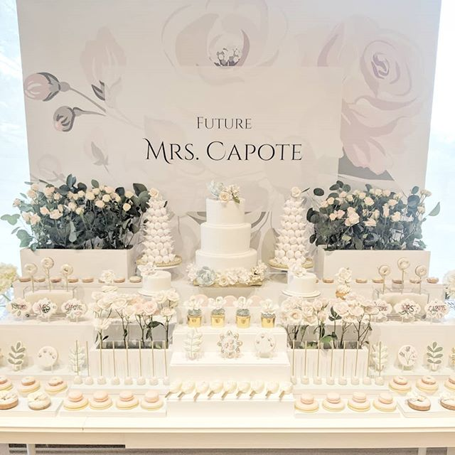 ♥️Future Mrs. Capote♥️ Such a pleasure working Jolene to bring her bridal shower sweet table to life!  #theartofsweets #sweetstable #sweets #sweettable #desserttable #dessert #bridal #bridalshower #spoilyourguests #cake #macarons #floral #cookies #cupcakes #cakepops #donuts #vintage #hamont #mississauga