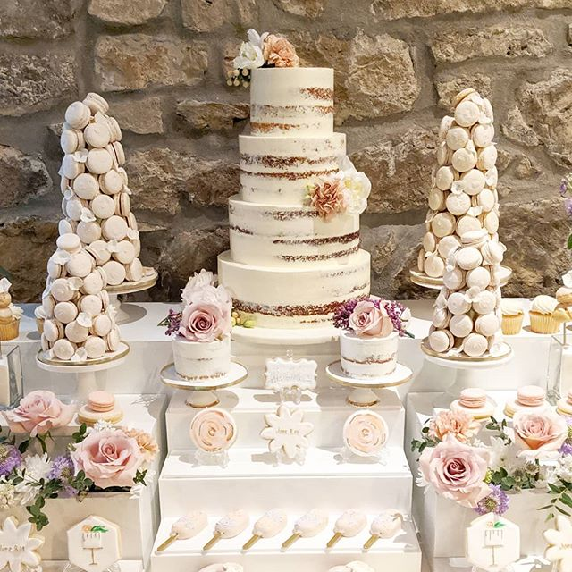 Victoria and Alex's cake table set up at their beautiful wedding @cambridge_mill 💕  #theartofsweets #sweetstable #sweettable #desserttable #dessert #sweets #wedding #weddingsweettable #weddingcake #cake #macarons #cakepops #macarontower #blush #spoilyourguests