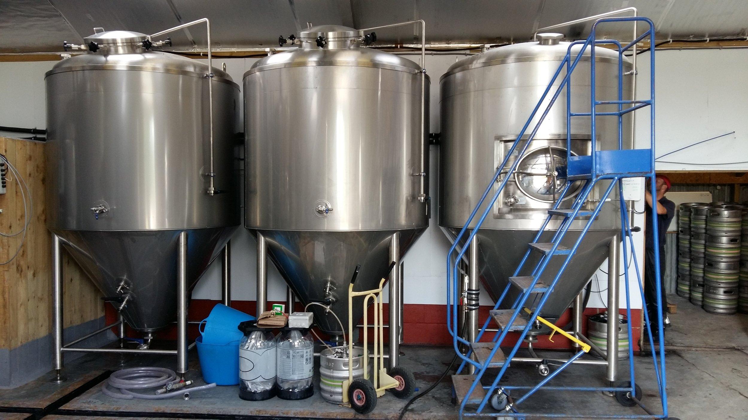Fermentors at Gun Brewery