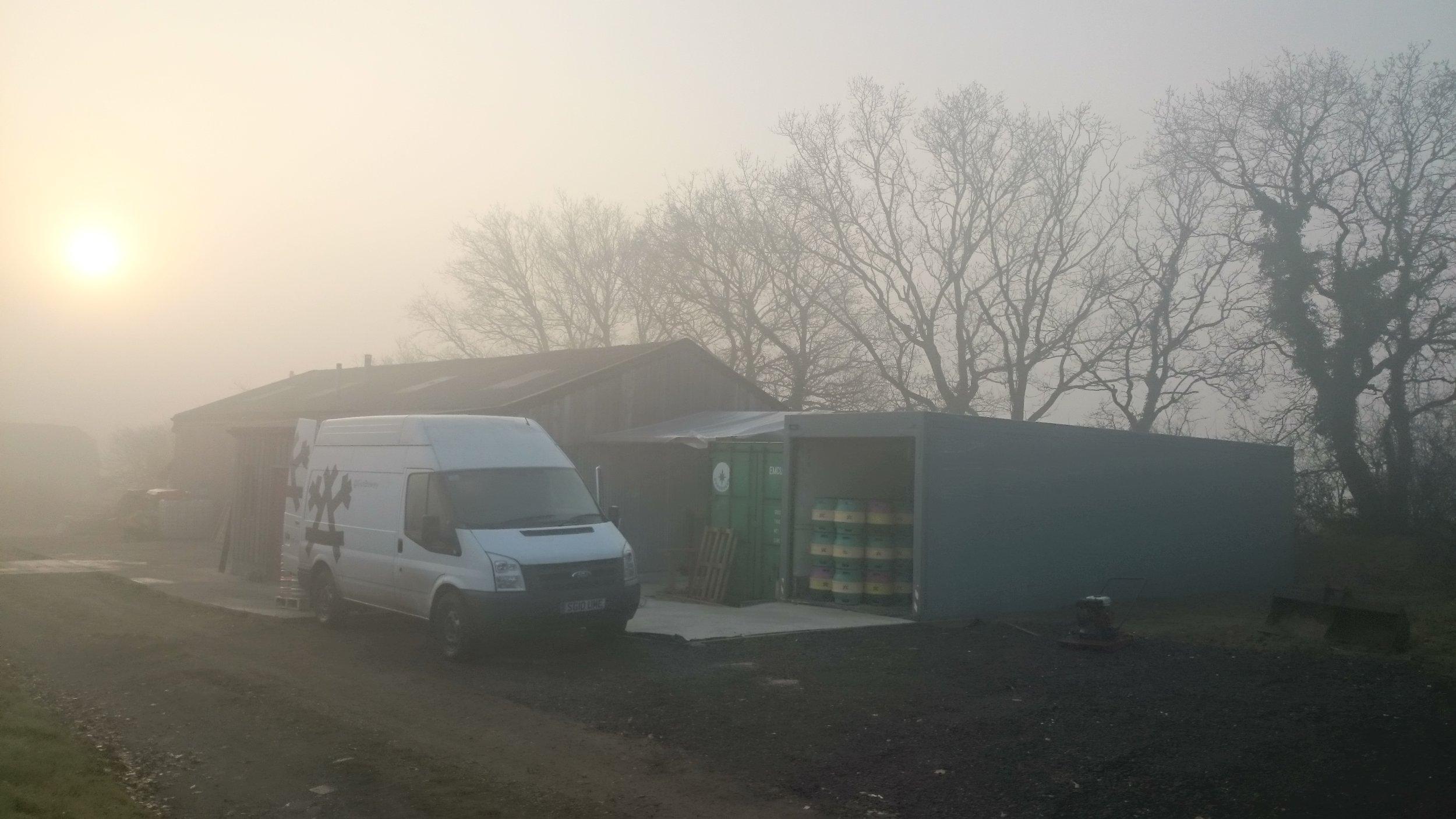 Misty day at Gun Brewery