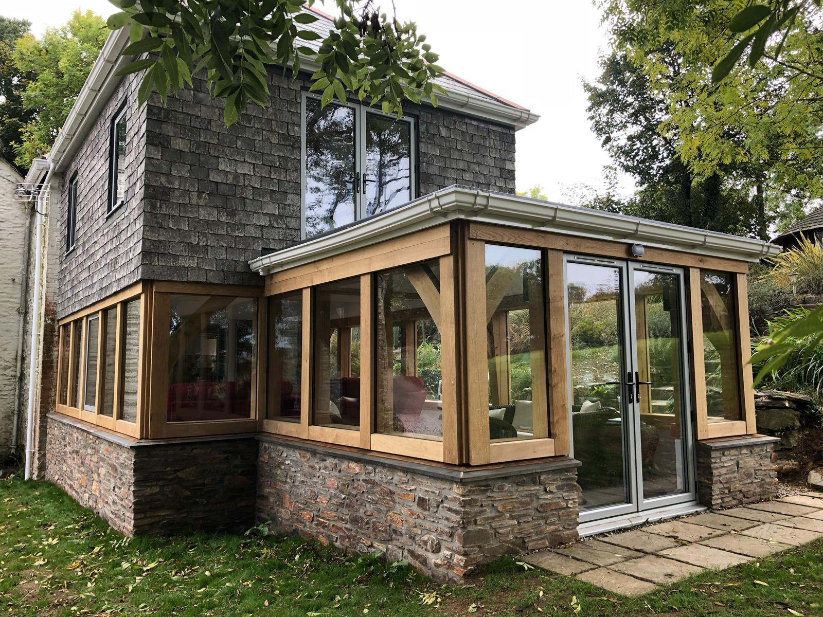 Green Oak Extension with Sun Room