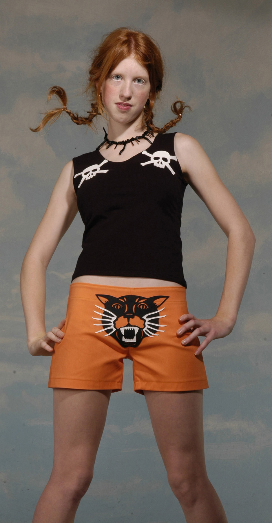 wildcat shorts and skull & crossbones top