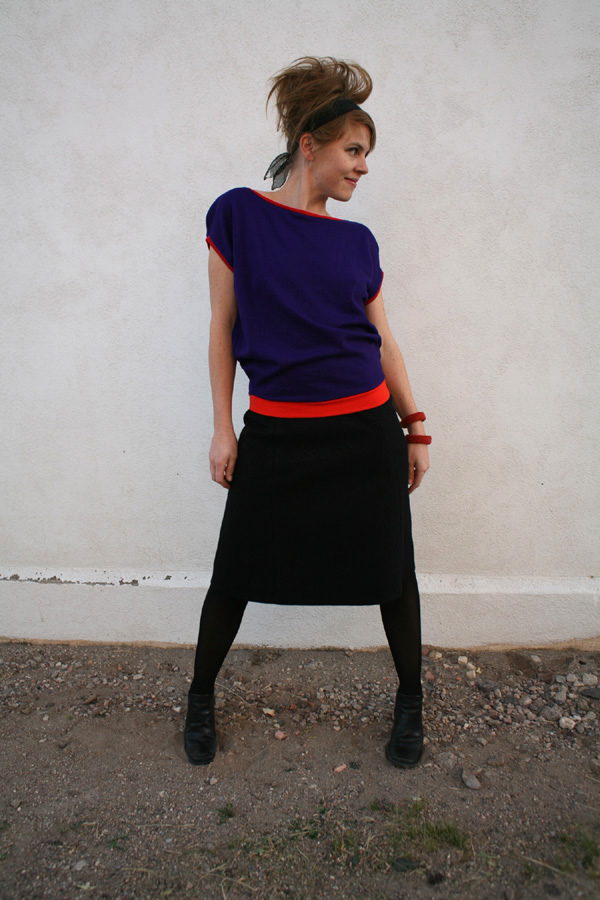 color block slouch top & skirt