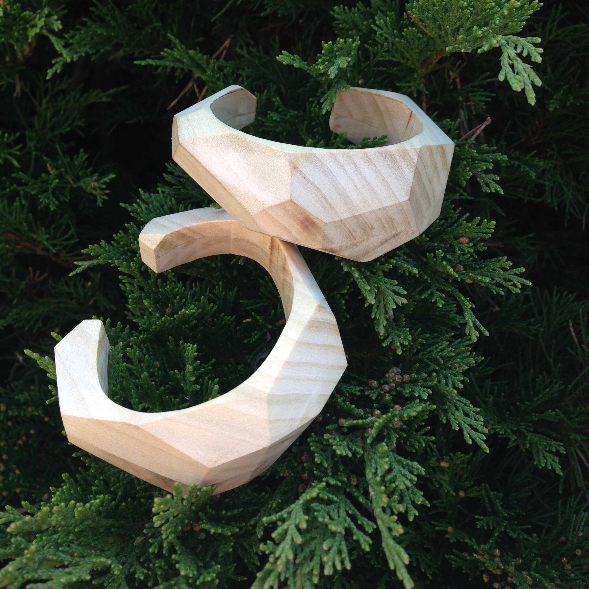 faceted wood cuffs