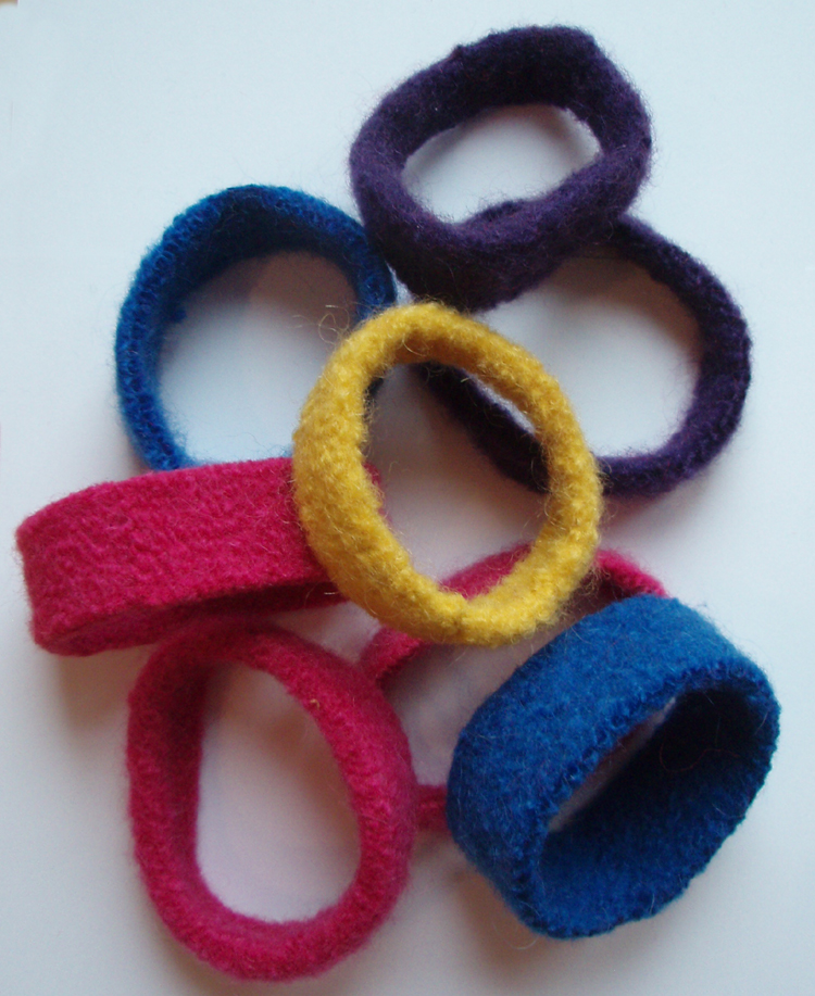 felted wool bangles