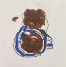 spilled coffee and mug, by Dave Leedy