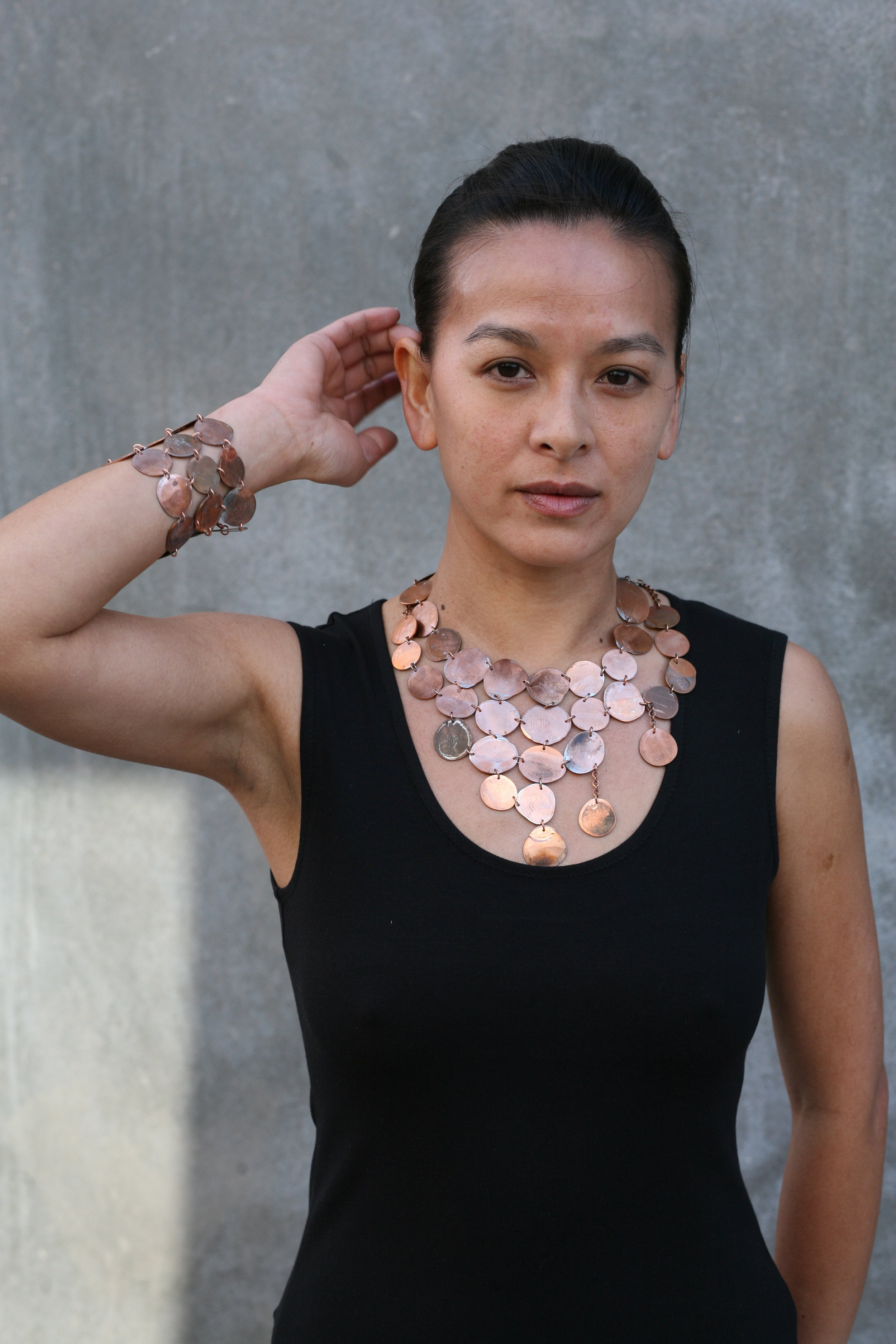 penny chainmail necklace and bracelet