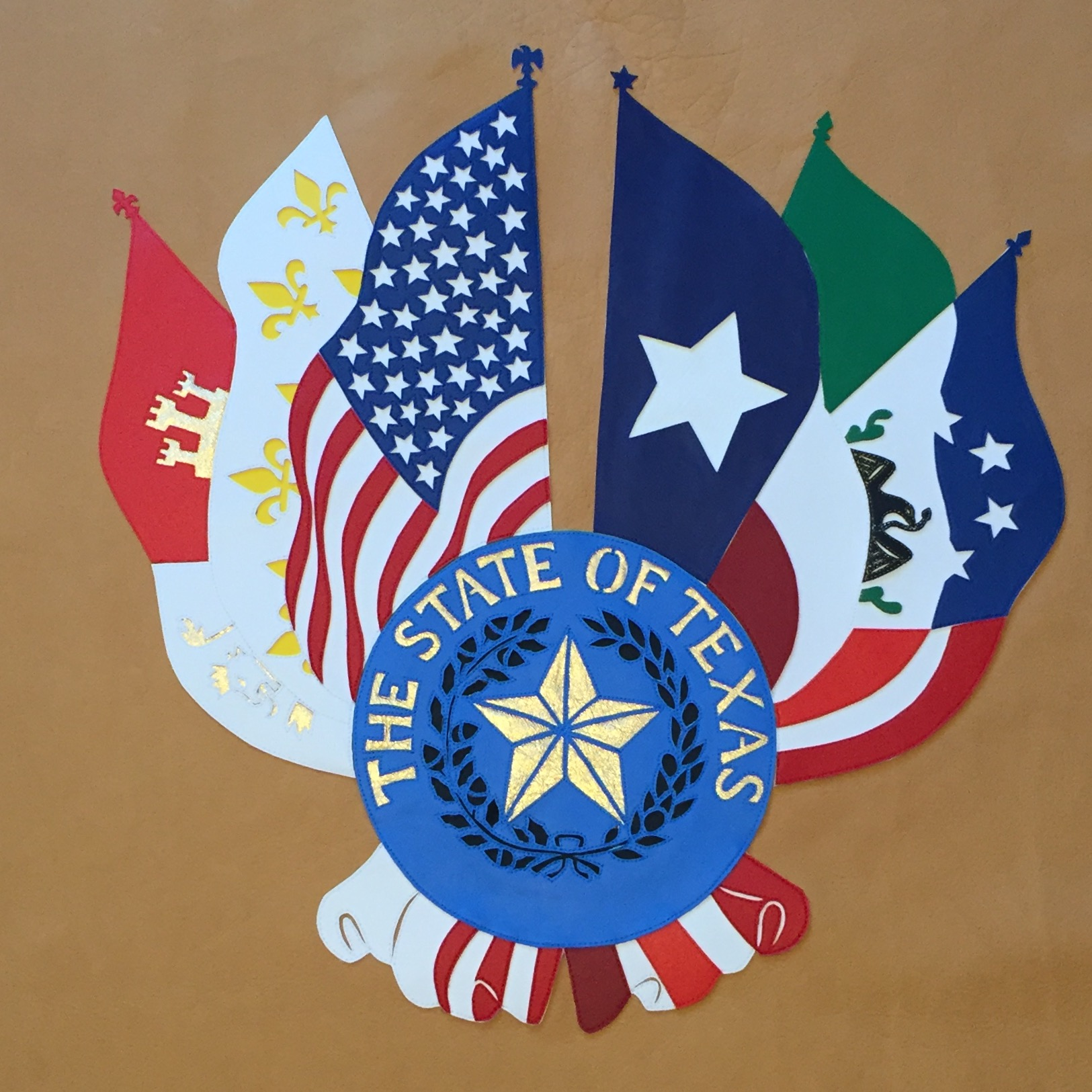 six flags and state seal of Texas