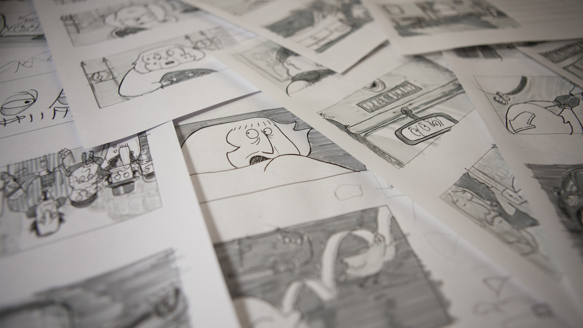 Pages from the storyboard.