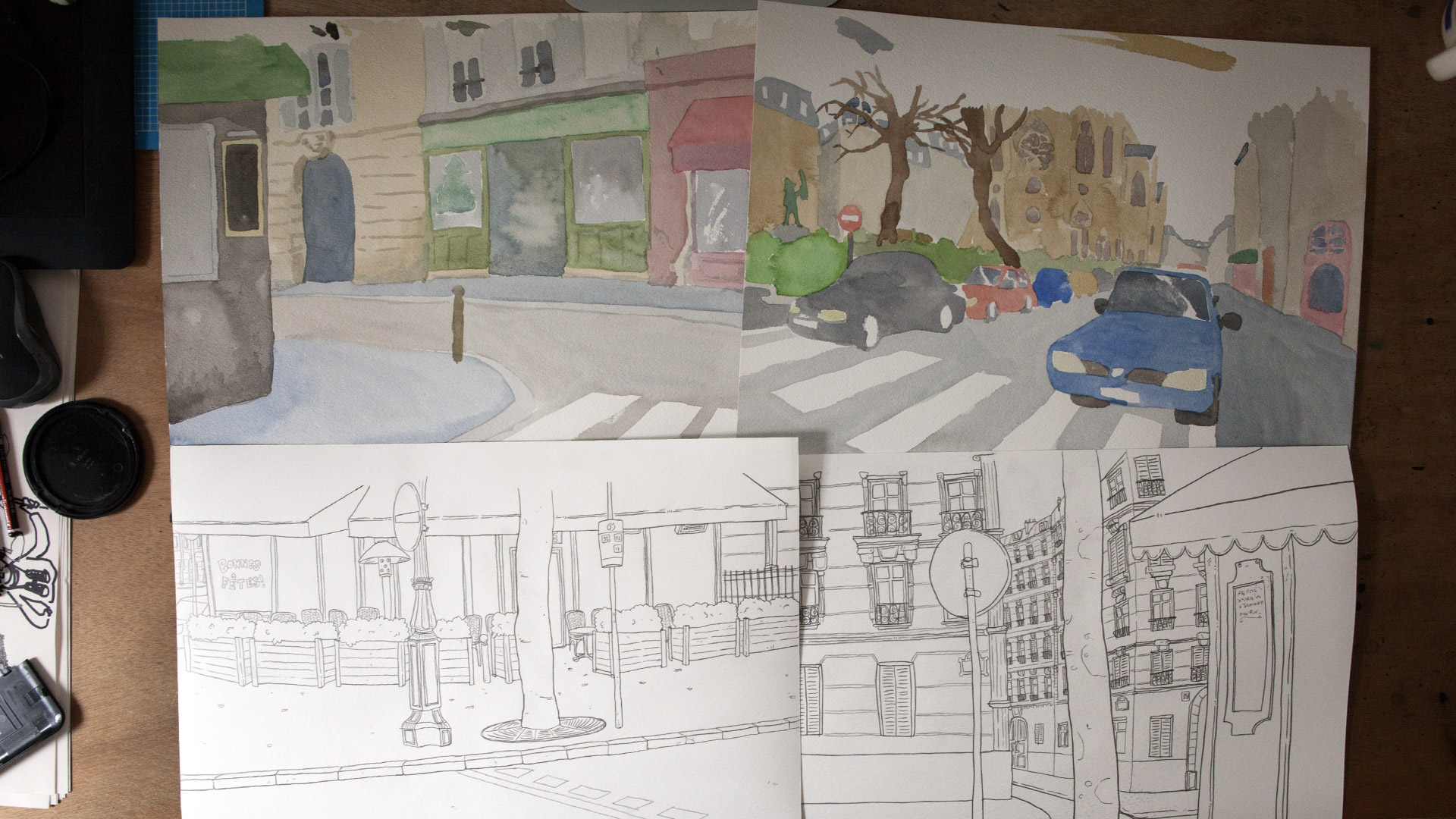 Here are some of the backgrounds. Line drawing on one sheet, colours on an other. This allows the retouching of certain colours if needed. For exemple to make sure a building, a sidewalk, or a street is roughly the same colour over multiple shots.