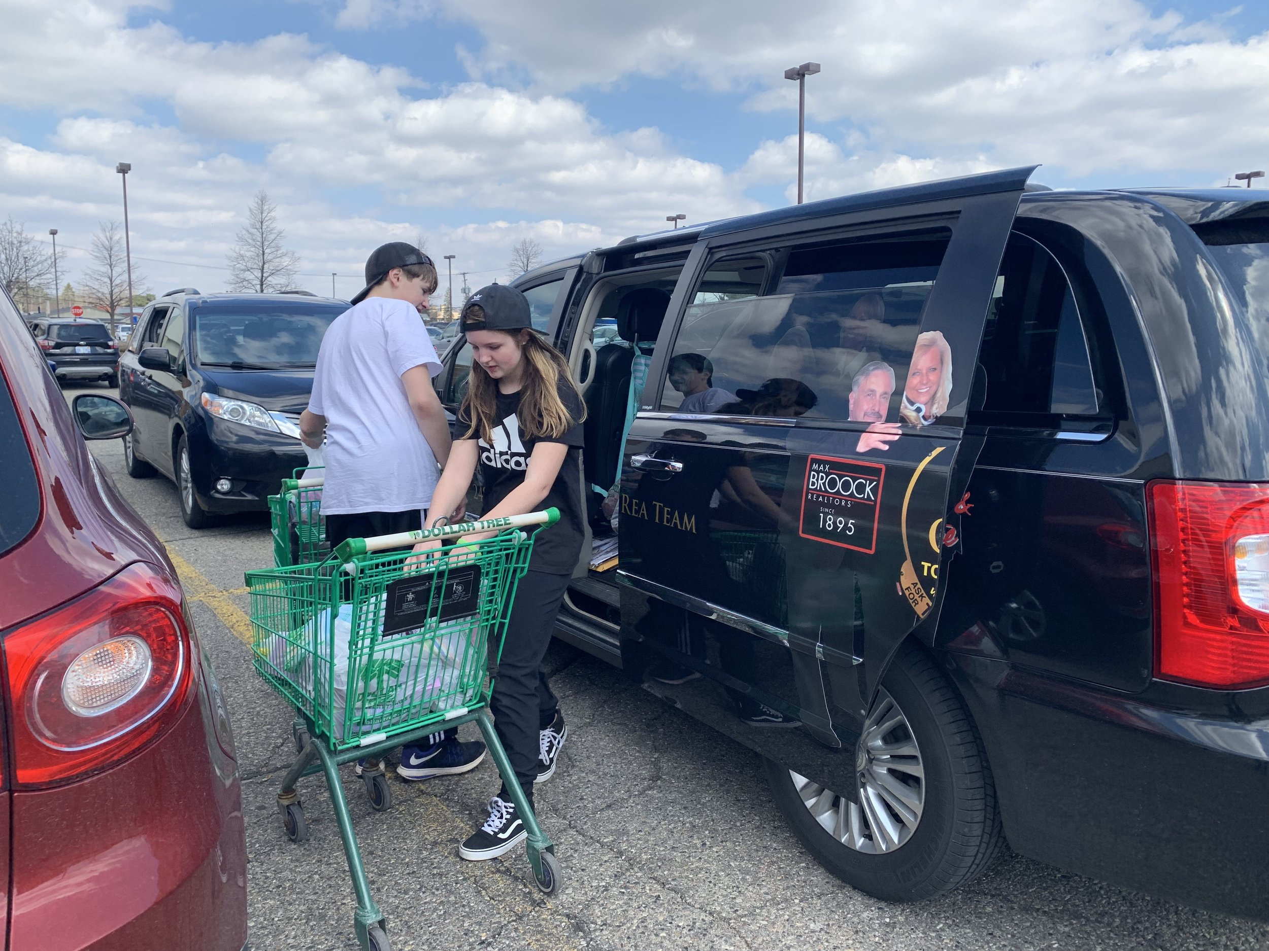 Loading up the Linda Rea Team van with Easter basket finds for the children.