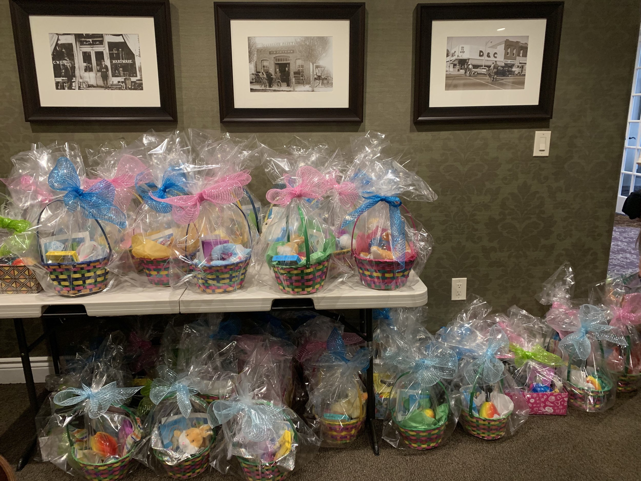 50 Easter baskets filled with treats and toys are ready for the children.