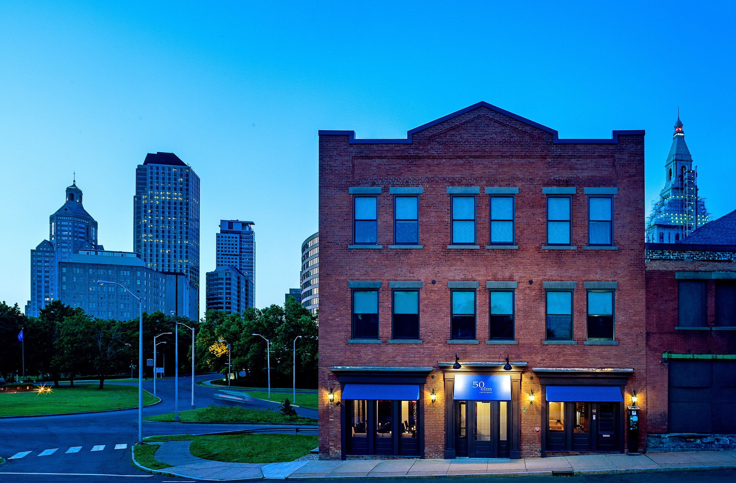 Hartford skyline and 50 Elm Cafe & Spirits, Hartford, CT. Architectural design by John Emerson Washington, Architect.
