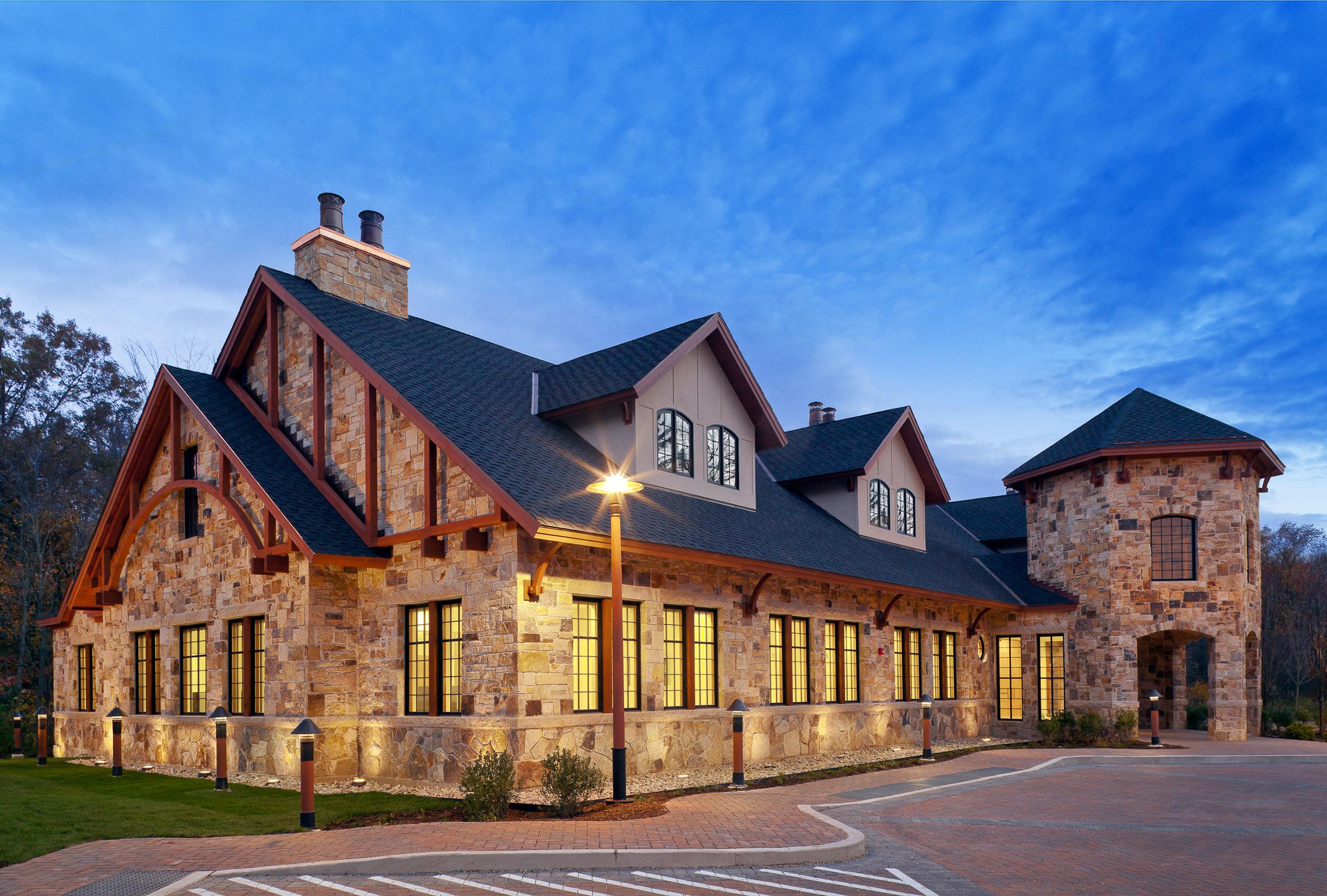 Acstar Insurance HQ, Farmington, CT at dusk by Quisenberry Arcari Malik Architects. © 2012 Carl Vernlund Photography