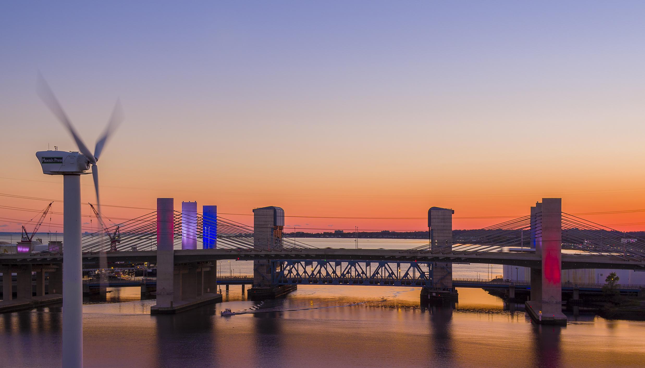 Veteran's Day drone aerial of Wind Turbine & Pearl Harbor Memorial bridge in New Haven, CT.