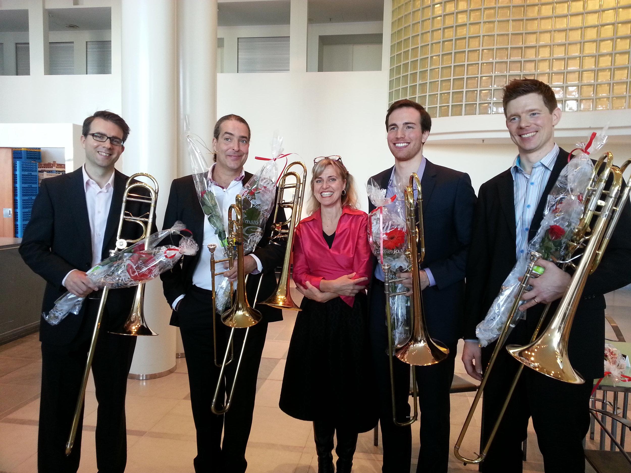 With the trombone section of the Finnish National Opera (John Kotka, Olav Severeide, and Niklas Larsson) and pianist Satu Elijärvi after a quartet recital