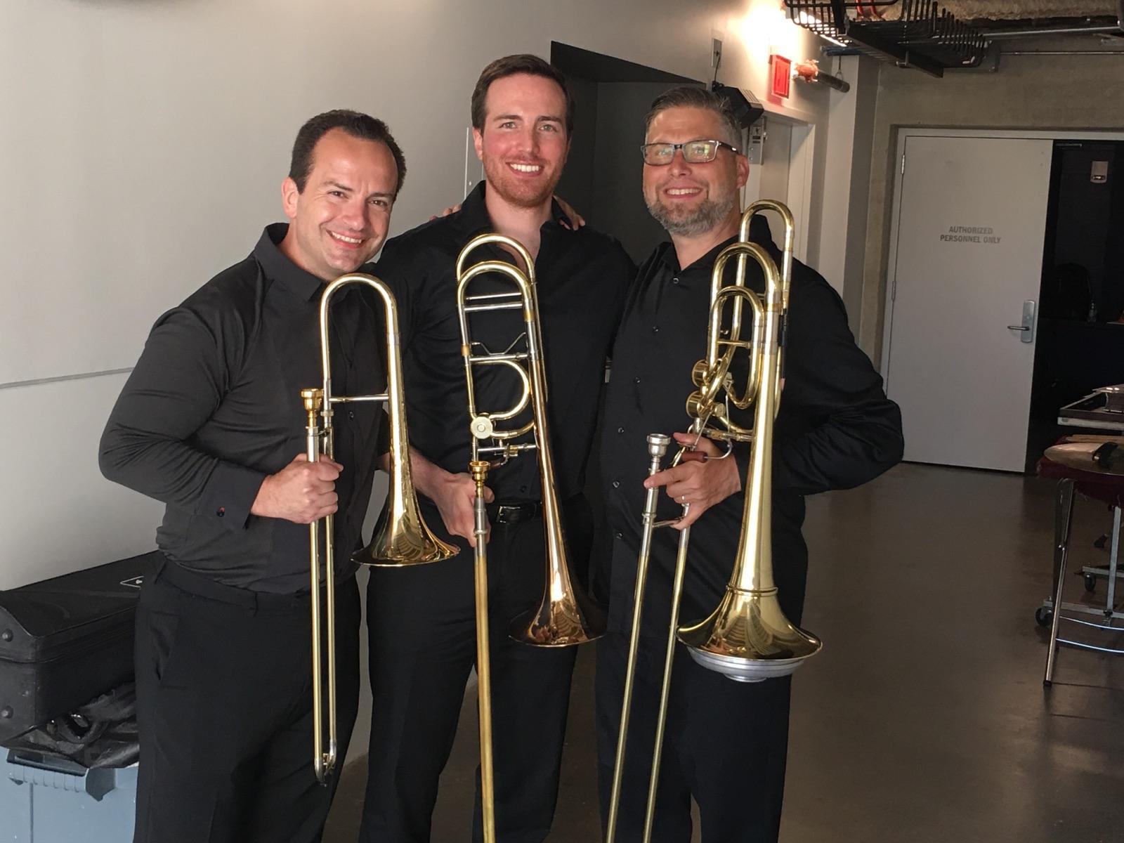 With Jim Nova and Denson Paul Pollard after a trio performance at the International Trombone Festival.