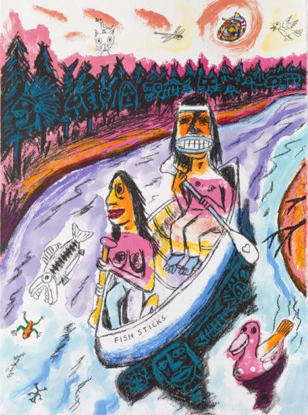 "Jim Denomie, Canoe Series, One of 12 monoprints with oil pastel handwork on Rives BFK white. Paper size: 30"" x 22 3/8"". Image size: 30"" x 22 3/8"". Collaborating printer Frank Janzen, TMP."