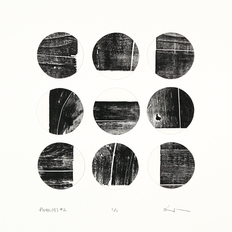 path(9) #2 , reclaimed wood monoprint, 2018