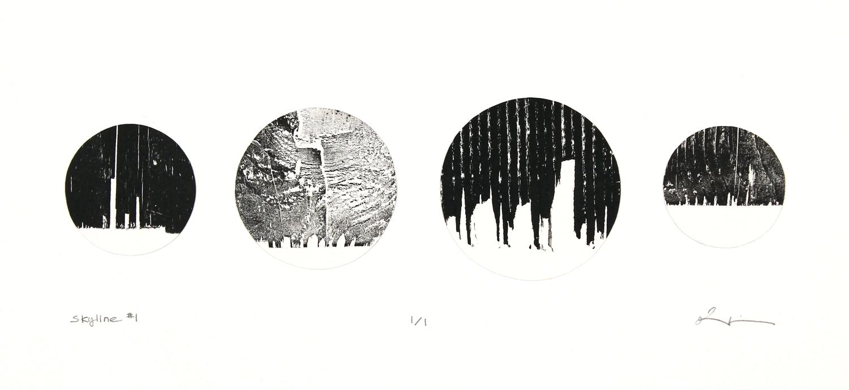 skyline #1 , reclaimed wood monoprint, 2018