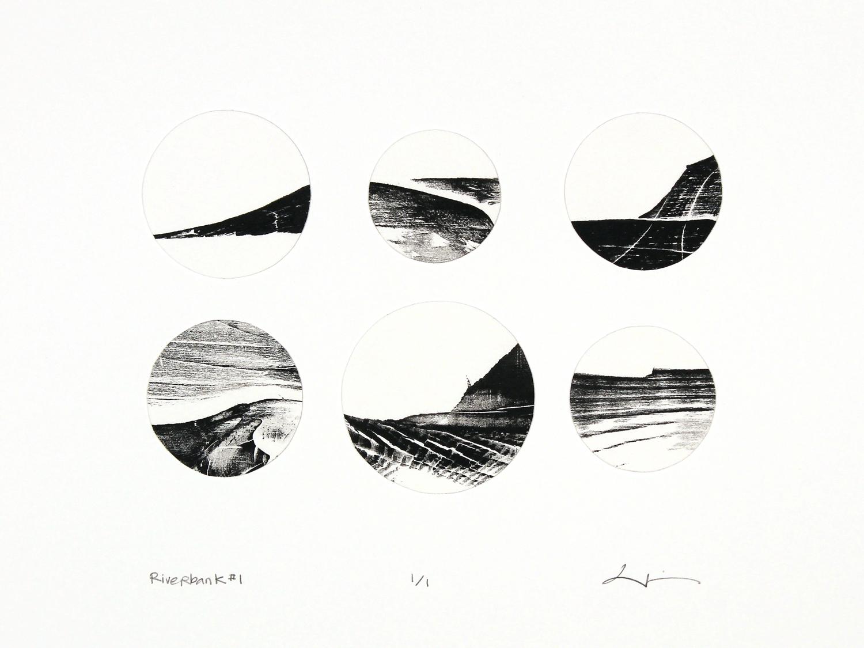 river bank #1,  reclaimed wood monoprint, 2018