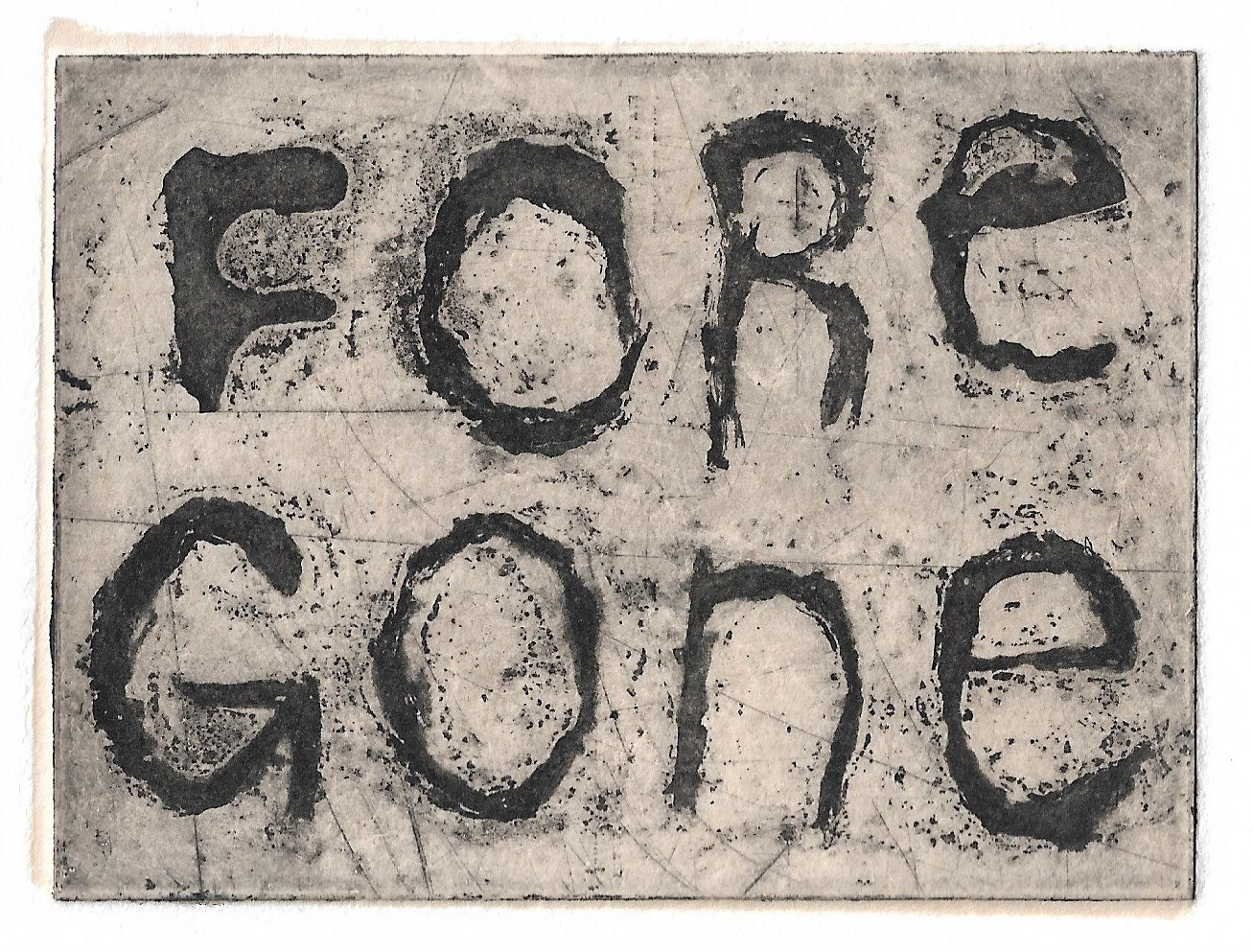 Ben Beres,  Foregone , Sugarlift, aquatint and chine collé, 3 x 4 inches