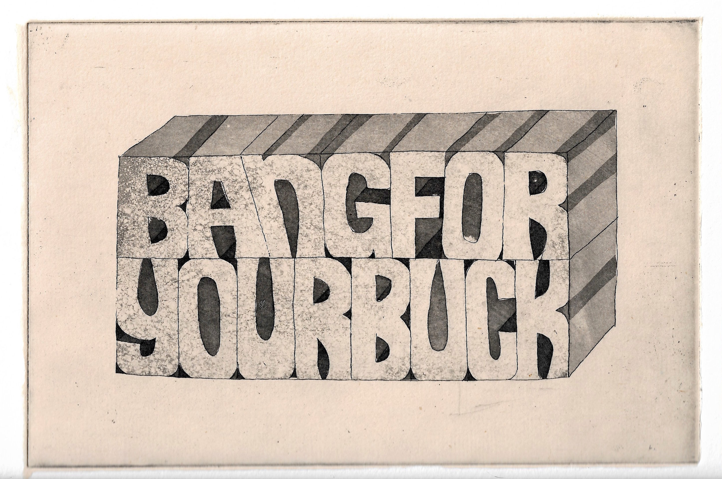 Ben Beres,  Bang , Sugarlift, aquatint and chine collé, 6 x 9 inches