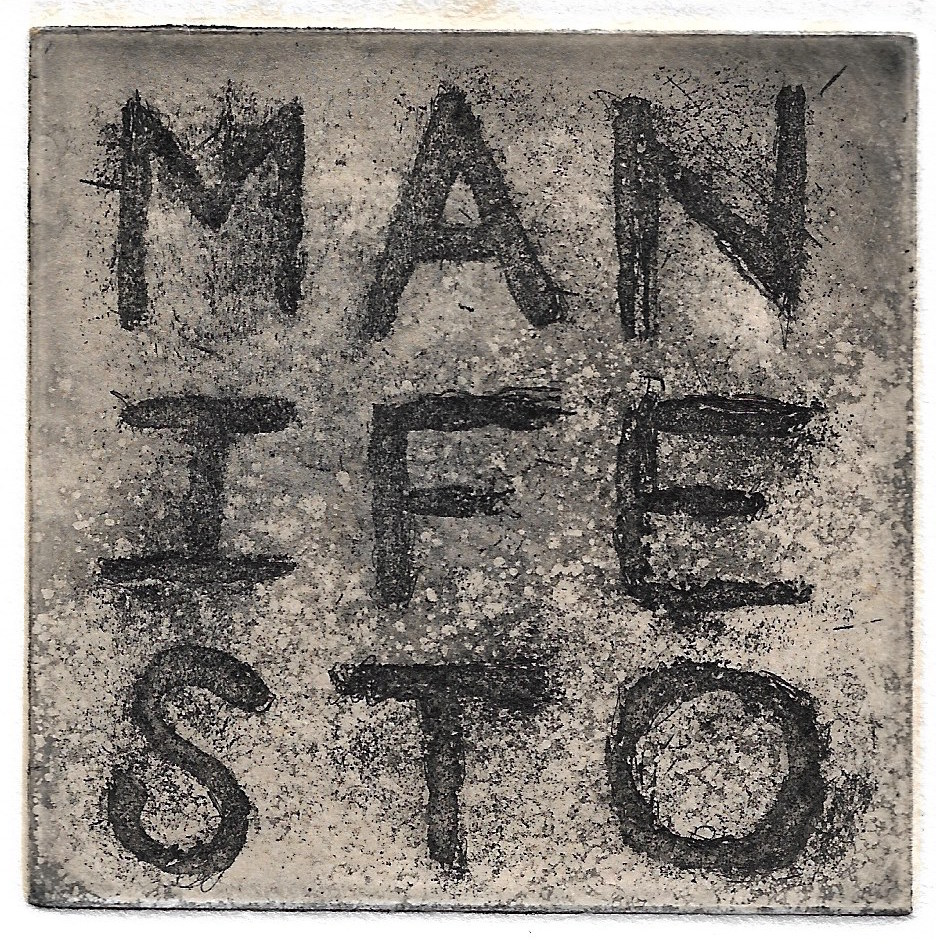 Ben Beres,  Manifesto , Sugarlift, aquatint and chine collé, 3 x 3 inches