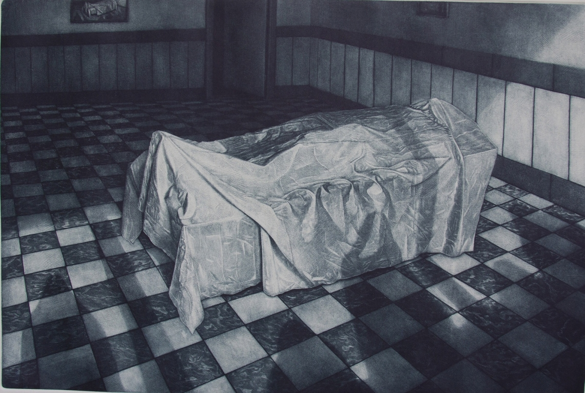 Mehdi Darvishi,  Out Side of Time I , 2015, mezzotint, 15 x 20 cm