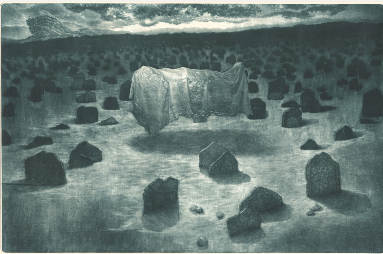 Mehdi Darvishi,  The Extended Night,  mezzotint, 14 x 19 cm